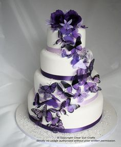 wedding cake idea. purple  butterflies. http://www.ebay.com/itm/20-Mixed-Purple-Butterflies-great-for-Wedding-Cakes-/320764344301?pt=AU_WeddingSupplies&hash=item4aaf0b77ed