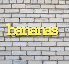 Items similar to bananas handmade wood sign - painted the color of your choice - wall decoration for vintage or modern decor on Etsy Painted Signs, Wooden Signs, Banana Art, Single Words, Mellow Yellow, Bright Yellow, Recycled Wood, Happy Colors, You Are My Sunshine