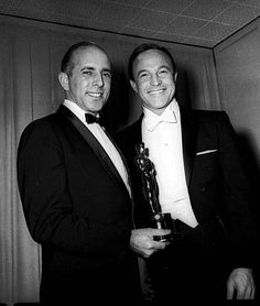 """Choreographer Jerome Robbins holds his Oscar award for best direction of """"West Side Story"""" with Gene Kelly in this April 9 1962 photo. Old Hollywood Actors, Golden Age Of Hollywood, Hollywood Stars, Classic Hollywood, West Side Story, Jerome Robbins, American Ballet Theatre, City Ballet, Gene Kelly"""
