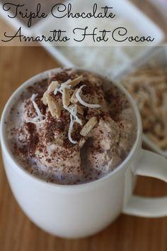 Triple chocolate hot cocoa with amaretto! #recipe #hotcocoa