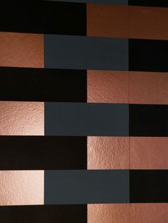 Block by Erica Wakerly - Copper Burnish / Grey / Black - Wallpaper : Wallpaper Direct Geometric Wallpaper Living Room, Glam Wallpaper, Geometric Wallpaper Design, Copper Wallpaper, Metallic Wallpaper, Designer Wallpaper, Black And Copper Bedroom, Copper And Grey, Brown And Cream Living Room