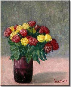 Roser i lilla vase/Roses in purple vase