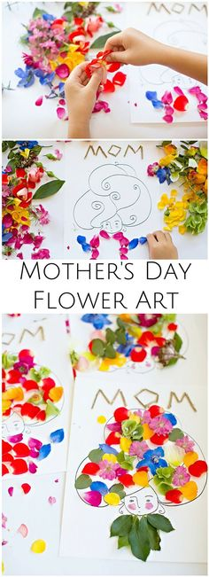 Make beautiful Mother's Day flower art with the kids. Wouldn't these make pretty cards? Art Activities For Kids, Craft Projects For Kids, Paper Crafts For Kids, Art For Kids, Arts And Crafts, Diy Crafts, Kids Fun, Mothers Day Crafts For Kids, Fathers Day Crafts