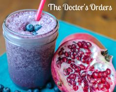 Just what the doctor ordered for the new year! Make the Doctor's Orders smoothie with ¼ cup Bob's Red Mill whey protein powder, ½ cup plain Greek yogurt, ½ cup pomegranate juice, 1 cup fresh or frozen blueberries, 2 Tbsp flaxseed meal- blend and enjoy!