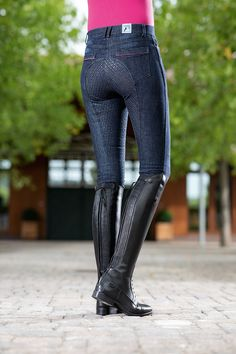 Ladies Breeches Active 19 Denim with Full Silicone Seat Equestrian Boots, Equestrian Outfits, Equestrian Style, Equestrian Fashion, Riding Hats, Riding Helmets, Horse Riding, Riding Clothes, Riding Outfits