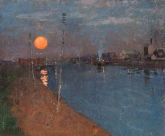 River Landscape by Moonlight, 1887 -George Henry Painting Gallery, Art Gallery, Nocturne, Abstract Landscape, Landscape Paintings, Glasgow Museum, Art Nouveau, George Henry, Impressionist Art