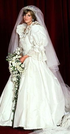 Princess Diana's Dress Details: A 25-foot train accented Diana's ivory Emanuel gown, made of 40 yards of silk taffeta; five extra copies were made as backups. For good luck, a small diamond-studded gold horseshoe was sewn into her gown.