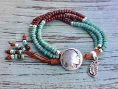 Southwest Jewelry/Leather Wrap/Leather Wrap Bracelet/Multi Beaded Wrap Bracelets, Leather Bracelets, Leather Jewelry, Jewelry Bracelets, Silver Jewelry, Craft Jewelry, Beach Jewelry, Jewelry Ideas, Jewelry Making