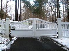 White Wood Automated Driveway Gate