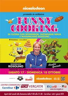 Sabato 17 e Domenica 18 Ottobre #Nickelodeon presenta FUNNY COOKING in cucina con Spongebob, le Tartarughe Ninja e Massimiliano Rosolino come giudice speciale.