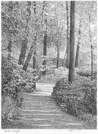 Beautiful pencil drawing by friend and artist Tom Graffagnino. Beautiful Pencil Drawings, Landscape Pencil Drawings, Graphite Art, Graphite Drawings, David Hockney, Color Pencil Art, Drawing Challenge, Garden Paths, Love Art
