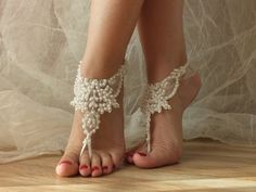 Free Ship ivory  laceBarefoot Sandals, french lace, Beach wedding barefoot…