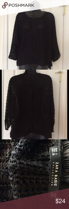 Zara Black Mesh Dolman 3/4 Sleeve Top 🚭 Items from smoke and pet free home🚫 📬Fast same or next day shipping📬 🚩Any flaws are noted in description/photos📸 ♻️Packaging recycled/reused-please recycle🌳 ❓ Please reach out with any questions!❔ 🕶 Like/follow for frequent sales/new inventory👛 👙Thank you for visiting my closet!👡 Zara Tops Tunics