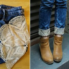 jeans-lace-refashion-diy clothes upcycle DIY - Jeans Refashion with Lace — Blue Umbrella Lane Diy Jeans, Jeans Refashion, Diy Clothes Refashion, Refashioned Clothes, Refaçonner Jean, Jean Diy, Diy Kleidung Upcycling, Umgestaltete Shirts, Diy Vetement