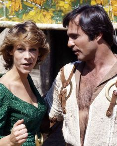 Jaime Lee Curtis and Gil Gerard between takes on 'Unchained Woman', episode 7 season 1 of BUCK ROGERS IN THE 25TH CENTURY (1979-1981).