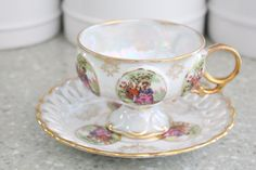 Vintage Porcelain Tea Cup and Saucer by Royal Sealy, Courting Couple, Lusterware Japan Iridescent Tea Party, Replacement China