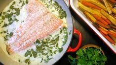 Creamy Cilantro  Coconut Poached Salmon #dairyfree #glutenfree #kosher #organic