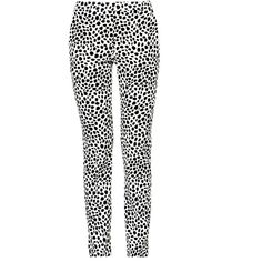 Chloe Dotted trousers ($383) ❤ liked on Polyvore featuring pants, slim-fit trousers, high-waisted pants, side zip pants, white high waisted trousers and side zipper pants