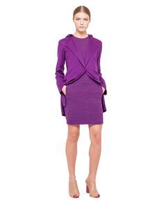 wool doubleface , lined with stretch acetate . Purple Fashion, Color Shapes, Peplum Dress, Closure, Wool, Colors, Inspiration, Dresses, Biblical Inspiration