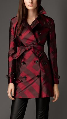Check Silk Jacquard Trench Coat   Burberry