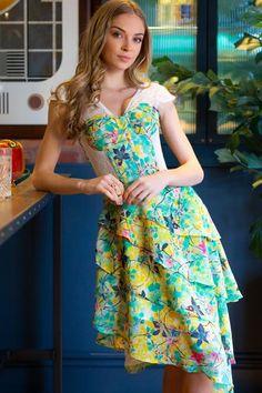 Tropical Print Mesh Panelled Corset Dress – Corset Story US Corset Noir, Blue Corset, Lace Tights, Super Cute Dresses, Pretty Dresses, Overbust Corset, Bustier, Yellow Dress, Shapewear