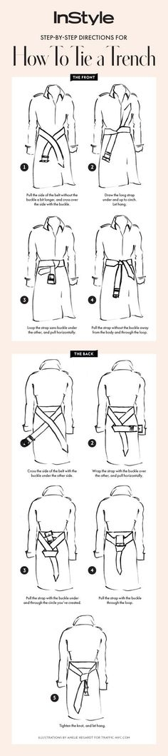 Follow our step-by-step guide for how to tie your trench coat two ways #beautyfashion