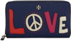 TORY BURCH Love Peace leather zip-around wallet