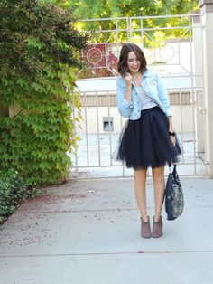 Love the tulle with the jean jacket.. - jacky