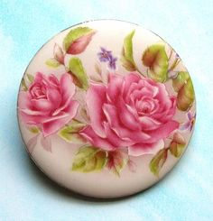 Victorian Shabby Chic Roses Porcelain Brooch