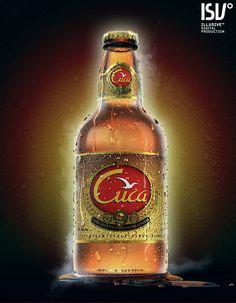 """""""Cuca Beer Bottle"""" created by Luis Lopes using LightWave 3D software. www.lightwave3d.com"""