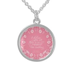 Jane Austen Pride &  Prejudice Floral Bookish Quote Necklace by Bookish and Wonderful on Zazzle