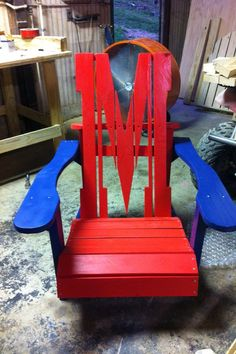 Ole Miss Adirondack Chair, any football, baseball, basketball, or team logos. on Etsy, $125.00