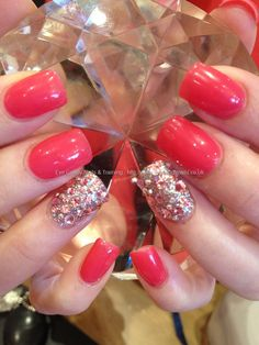 Clients own CD polish with Swarovski crystal ring fingers
