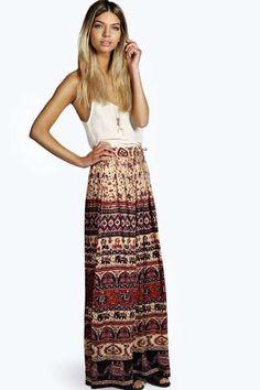 Corina Ethnic Print Maxi Skirt at boohoo.com