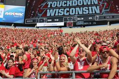 Students celebrate another Badger touchdown.