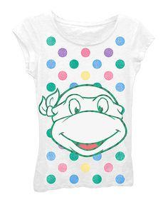 Look at this #zulilyfind! White Ninja Turtles Polka Dot Cap-Sleeve Tee - Girls by Teenage Mutant Ninja Turtles #zulilyfinds