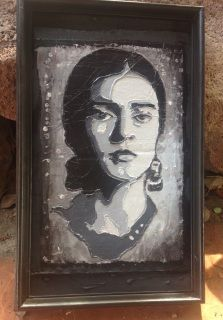 "One of a kind  Hot glue gun stenciled Frida Kahlo Black and White Painting on a 8 3/4"" x 14 3/4"" frame.  Reclaimed frame, repurposed cardboard, hot glue and acrylic.  Recycled By Carmen ​Sustainable Secrets LLC"