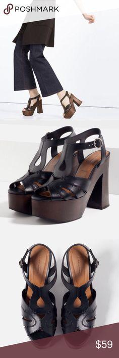 Zara Wooden Platform Sandals Upper. 100% Cow leather. Lining. 100% Polyurethane. Sole. 100% Styrene butadiene rubber. Slipsole. 70% Goat leather, 30% cow leather. New without box. Zara Shoes Platforms