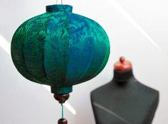 Lampion z jedwabiu, abażur Balloon - szmaragdowy