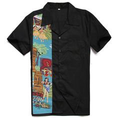 >> Click to Buy << New Designs Easter Statue Nude Girls Tiki Printing Male Casual Tops Cotton Rockabilly Vintage 40s 50s Club Plus Size Work Shirts #Affiliate