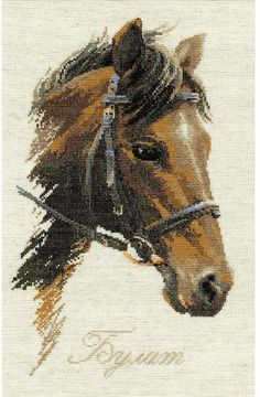 Riolis Bulat Horse - Cross Stitch Kit. Complete kit includes 16 Ct. Flaxen Aida, woolen and acrylic yarn, color chart, needle, and instructions. Finished size: