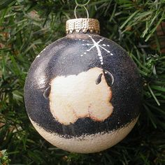 Prim Sheep Hand Painted Glass Ball Christmas Tree Ornament