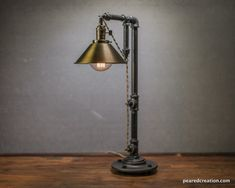 Industrial Table Lamp - Edison Bulb Lamp - Table Lamp - Pendant Lamp - Antique Brass Shade - Desk Lamp - Rustic - Iron Pipe - Barn Light Size:Height - 26in Width - 8in Depth - 14in Price:$175