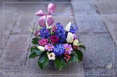 Hyacinths, tulips, lysianthus and anemones carefully arranged in a basket is a spring perfect gift for your loved one. Anemones, Flower Basket, Facebook Sign Up, Spring Flowers, Tulips, Floral Arrangements, Floral Wreath, Wreaths, Gifts