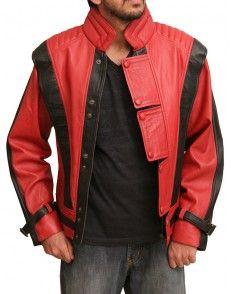 Micheal Jackson Thriller Red Black leather Jacket-Custom #celebrityleatherjacket  http://www.styloleather.com