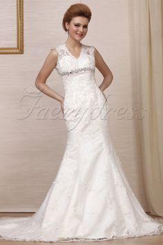 Spectacular Trumpet/Mermaid V-Neck Floor-Length Chapel Lace Wedding Dress