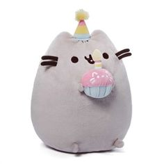 Pusheen the Cat Birthday Plush 26.5cm with Cupcake Licensed by Gund