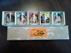 Japanese Sake Cups Set of 5 Samurai Themed  #originalfromJapan