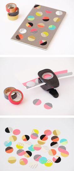 Un cuaderno soso se convierte en algo tan bonito como ésto gracias a una troqueladora y varios rollos de washi tape. DIY. http://cocktaildemariposas.com/2014/07/21/que-es-washi-tape