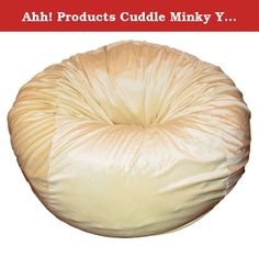 """Ahh! Products Cuddle Minky Yellow Washable Large Bean Bag Chair. Ahh! Products bean bag chairs are sure to be a favorite from toddler years and last through college. This 36"""" wide bean bag chair is perfect for kids, but will seat adults. This cover is a super soft, plush polyester minky fabric that is machine-washable. The seams are double-stitched for superior strength, no ripping or breaking even with the toughest play. Under the cover is an Ahh! Products exclusive liner that repels..."""